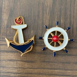 Vintage Nautical Anchor & Ships Wheel Pin Brooch
